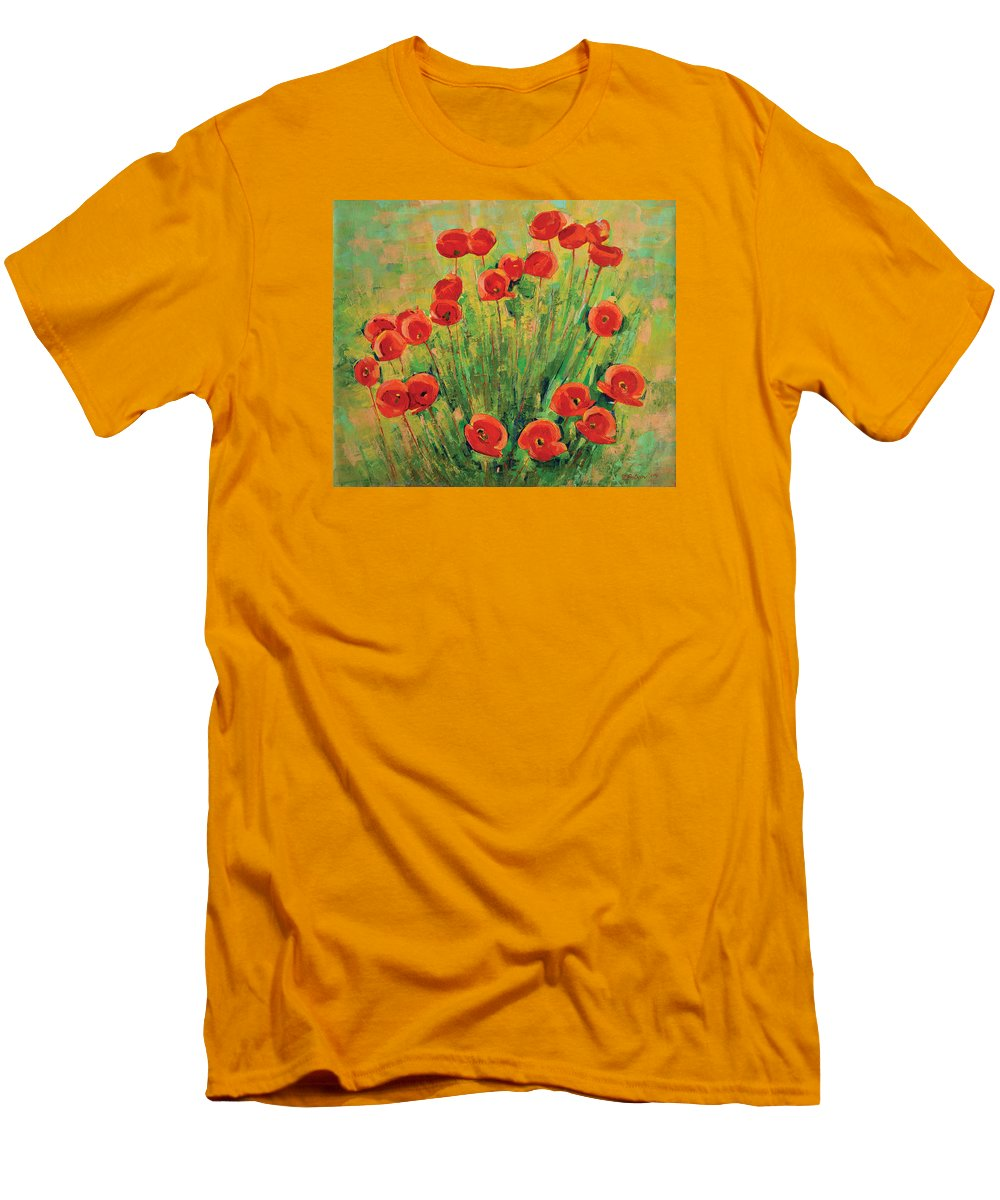 Poppies Men's T-Shirt (Athletic Fit) featuring the painting Poppies by Iliyan Bozhanov