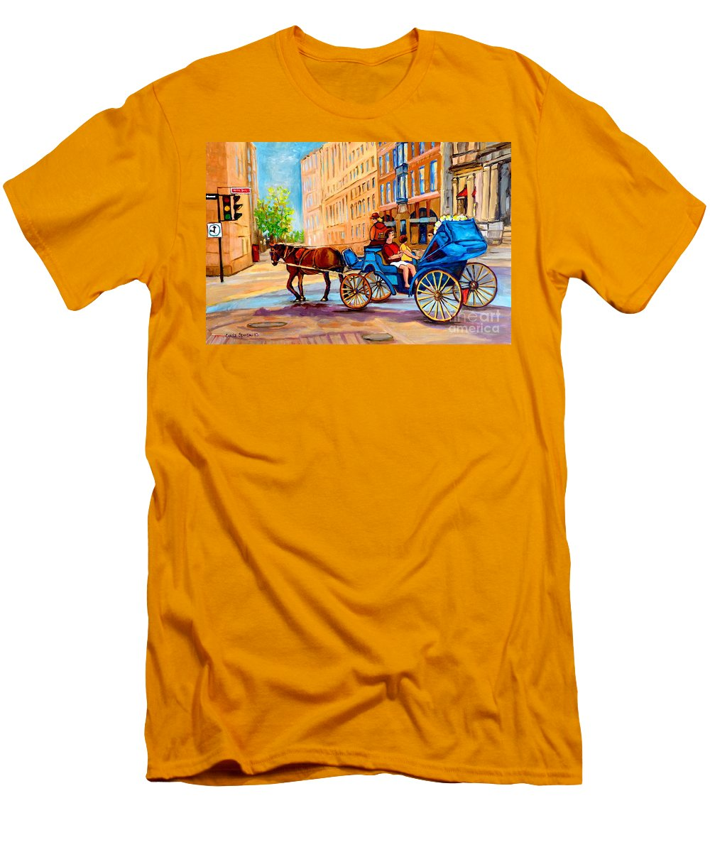 Rue Notre Dame Men's T-Shirt (Athletic Fit) featuring the painting Rue Notre Dame Caleche Ride by Carole Spandau