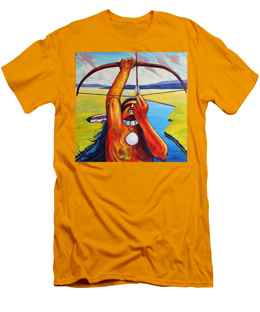 Native American Men's T-Shirt (Athletic Fit) featuring the painting Shamans Prayer by Joe Triano