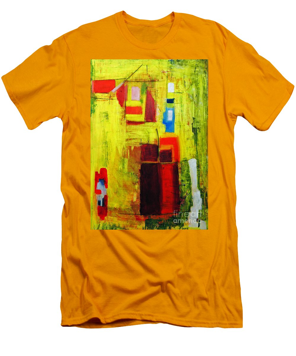 Abstract Painting Men's T-Shirt (Athletic Fit) featuring the painting Yellow by Jeff Barrett