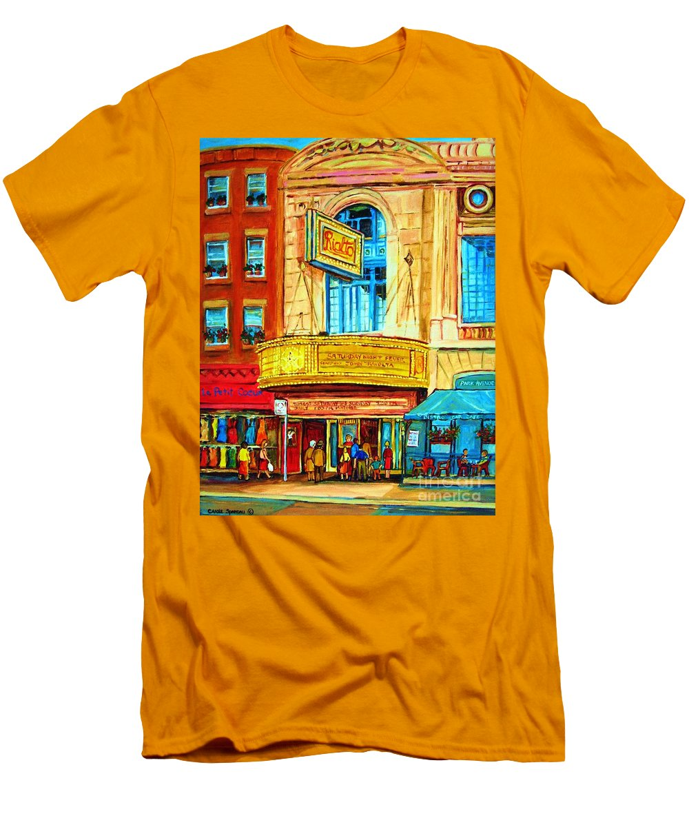 Street Scene Men's T-Shirt (Athletic Fit) featuring the painting The Rialto Theatre by Carole Spandau