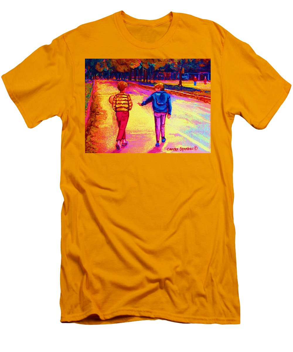Children Men's T-Shirt (Athletic Fit) featuring the painting Lets Play Ball At Beaverlake Park by Carole Spandau