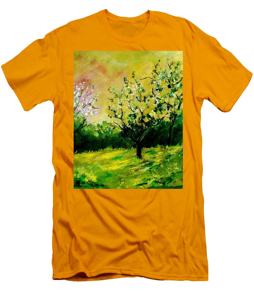 Landscape Men's T-Shirt (Athletic Fit) featuring the painting Orchard by Pol Ledent