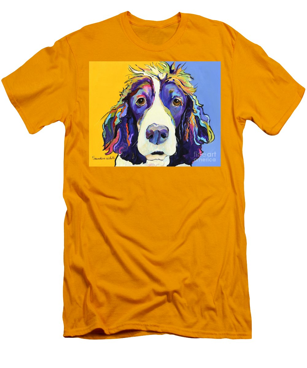 Blue Men's T-Shirt (Athletic Fit) featuring the painting Sadie by Pat Saunders-White