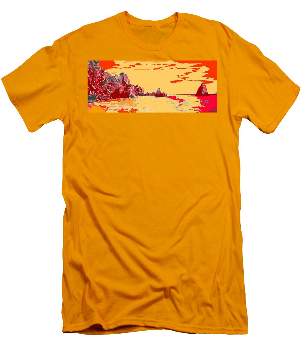 Mediterranean Men's T-Shirt (Athletic Fit) featuring the photograph Algarve Sunrise by Ian MacDonald