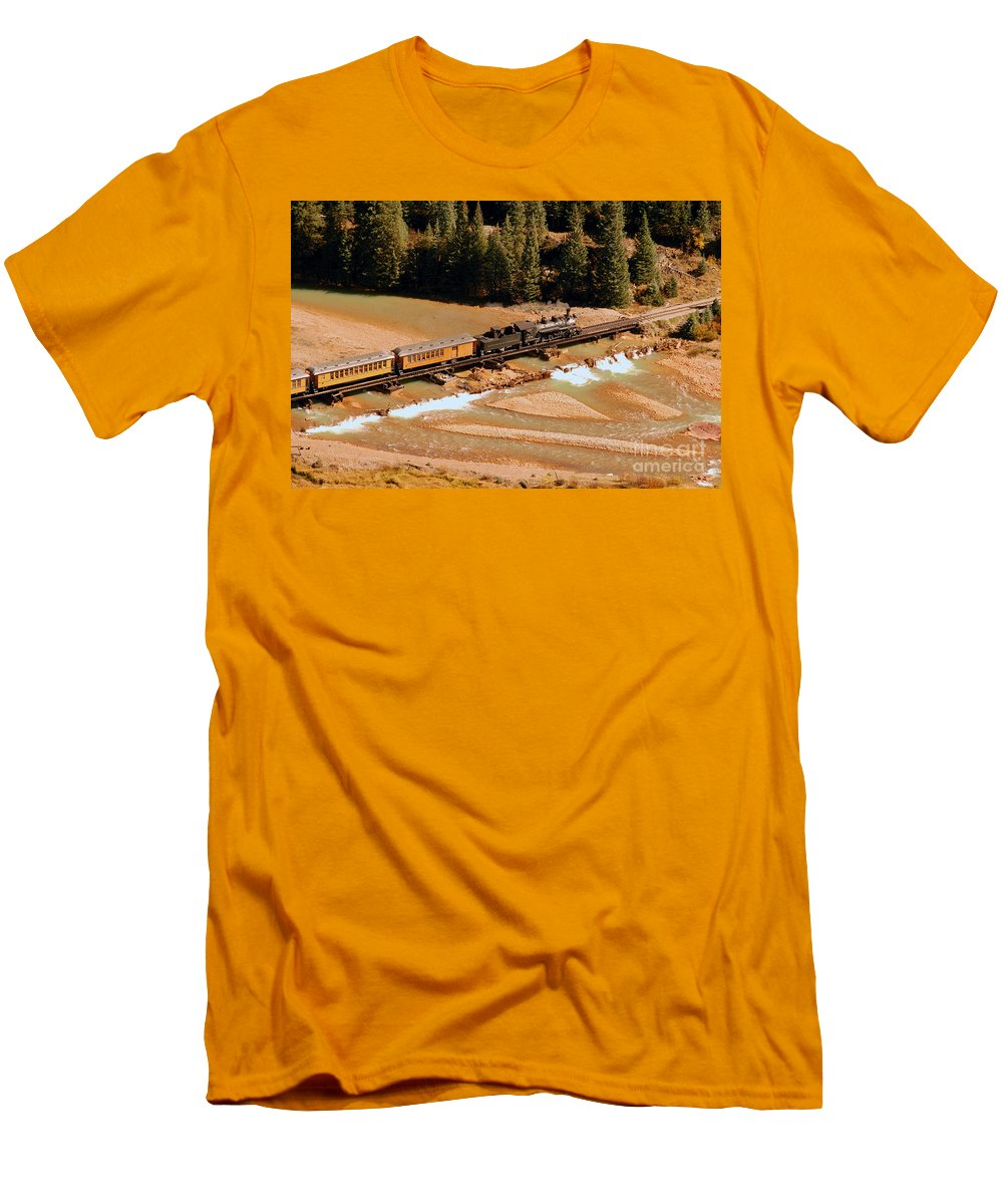 Animas River Men's T-Shirt (Athletic Fit) featuring the photograph Animas River Crossing by David Lee Thompson