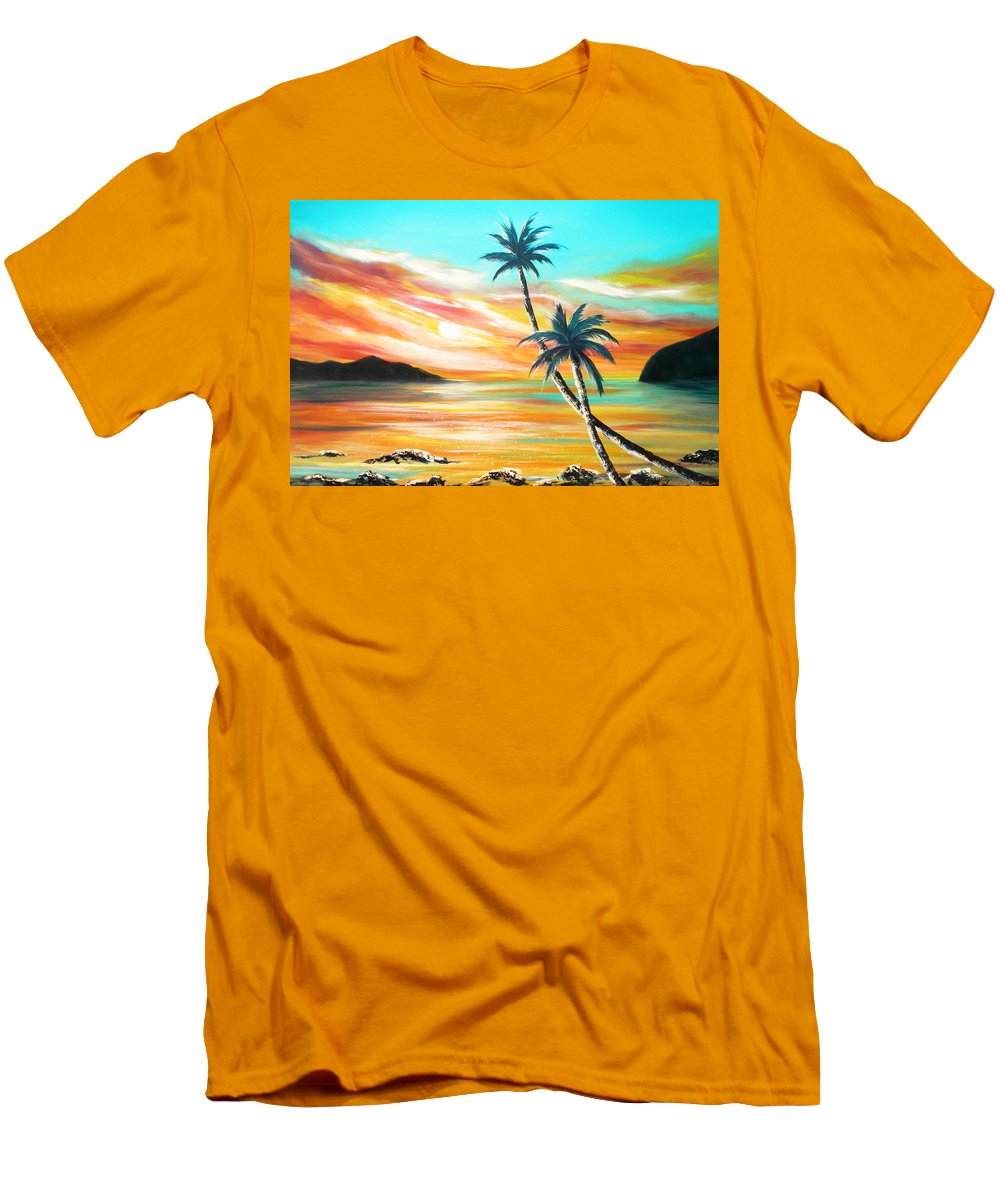 Sunset Men's T-Shirt (Athletic Fit) featuring the painting Another Sunset In Paradise by Gina De Gorna