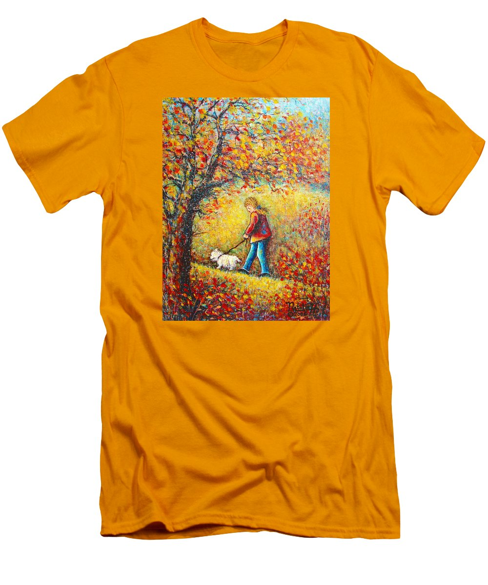 Landscape Men's T-Shirt (Athletic Fit) featuring the painting Autumn Walk by Natalie Holland