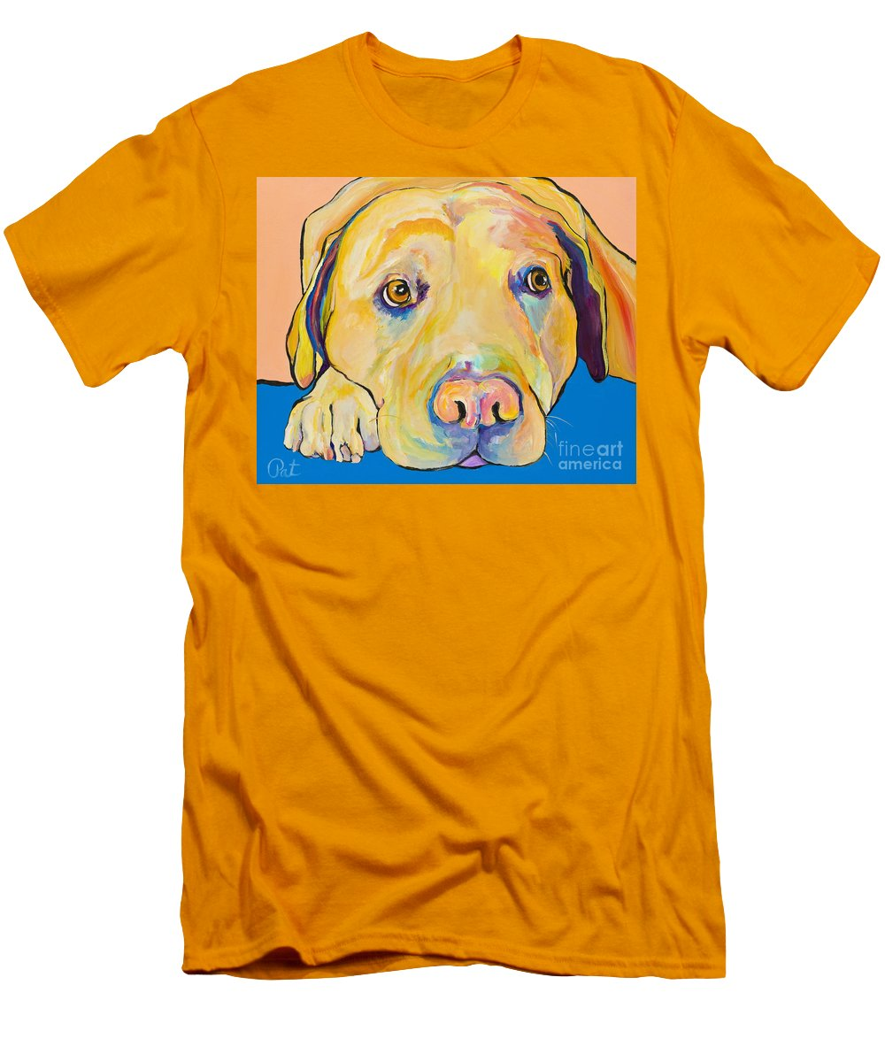Dog Paintings Yellow Lab Puppy Colorful Animals Pets Men's T-Shirt (Athletic Fit) featuring the painting Bath Time by Pat Saunders-White