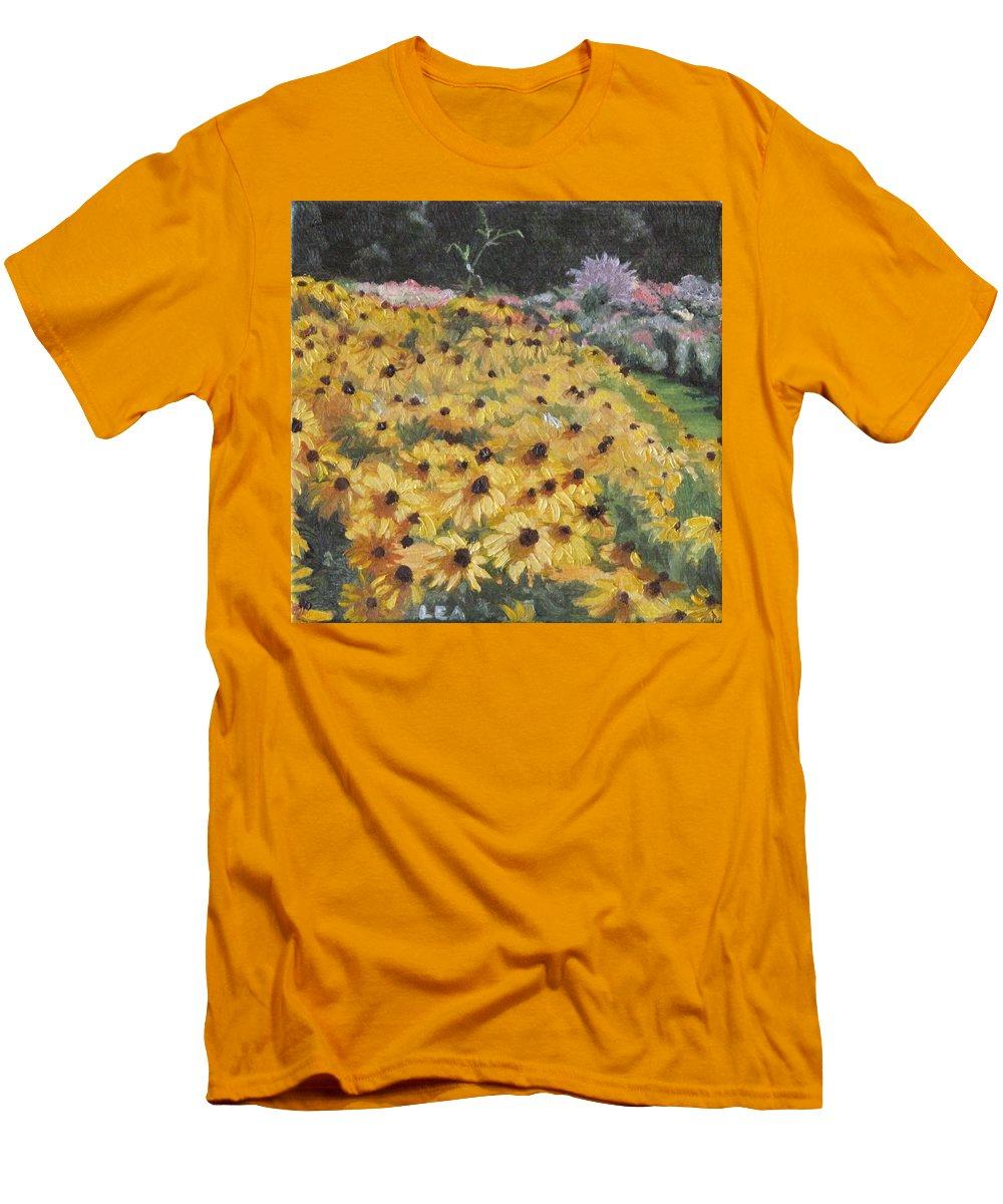 Floral Men's T-Shirt (Athletic Fit) featuring the painting Black-eyed Susans by Lea Novak