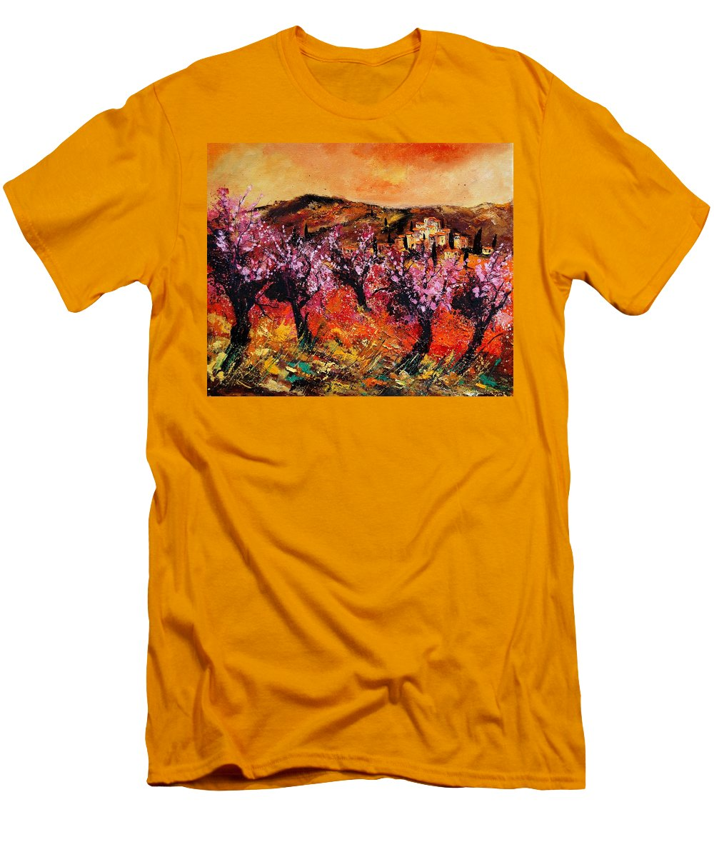 Provence Cherrytree Summer Spring Men's T-Shirt (Athletic Fit) featuring the painting Blooming Cherry Trees by Pol Ledent