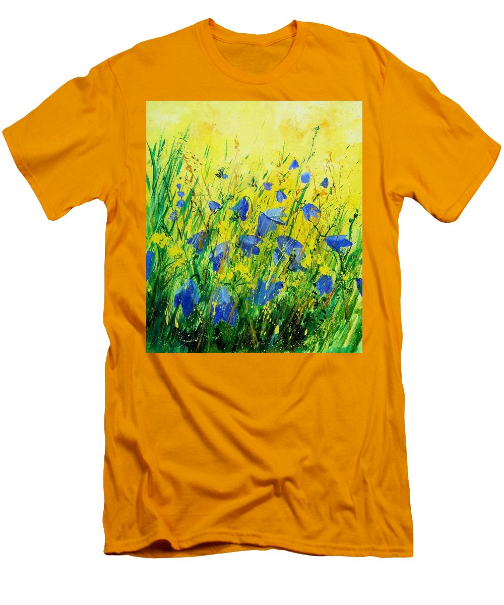 Poppies Men's T-Shirt (Athletic Fit) featuring the painting Blue Bells by Pol Ledent