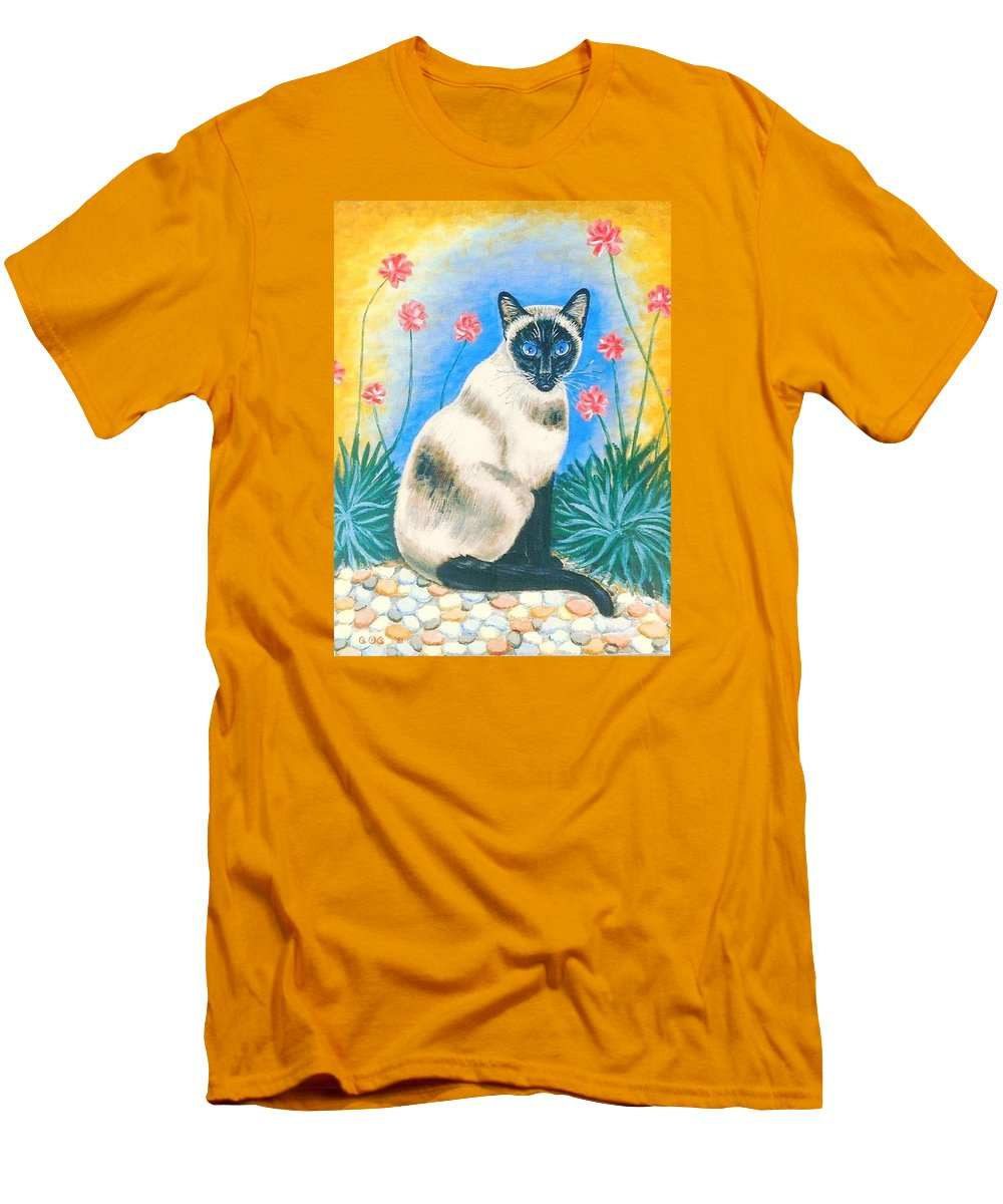 Cats Men's T-Shirt (Athletic Fit) featuring the painting Blue Kitty by George I Perez