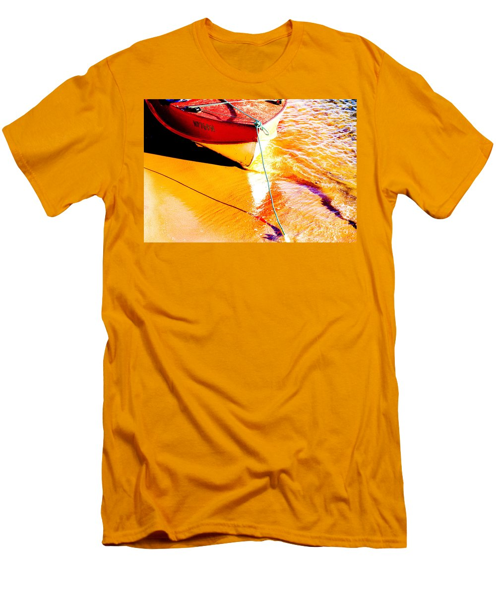 Boat Abstract Yellow Water Orange Men's T-Shirt (Athletic Fit) featuring the photograph Boat Abstract by Avalon Fine Art Photography