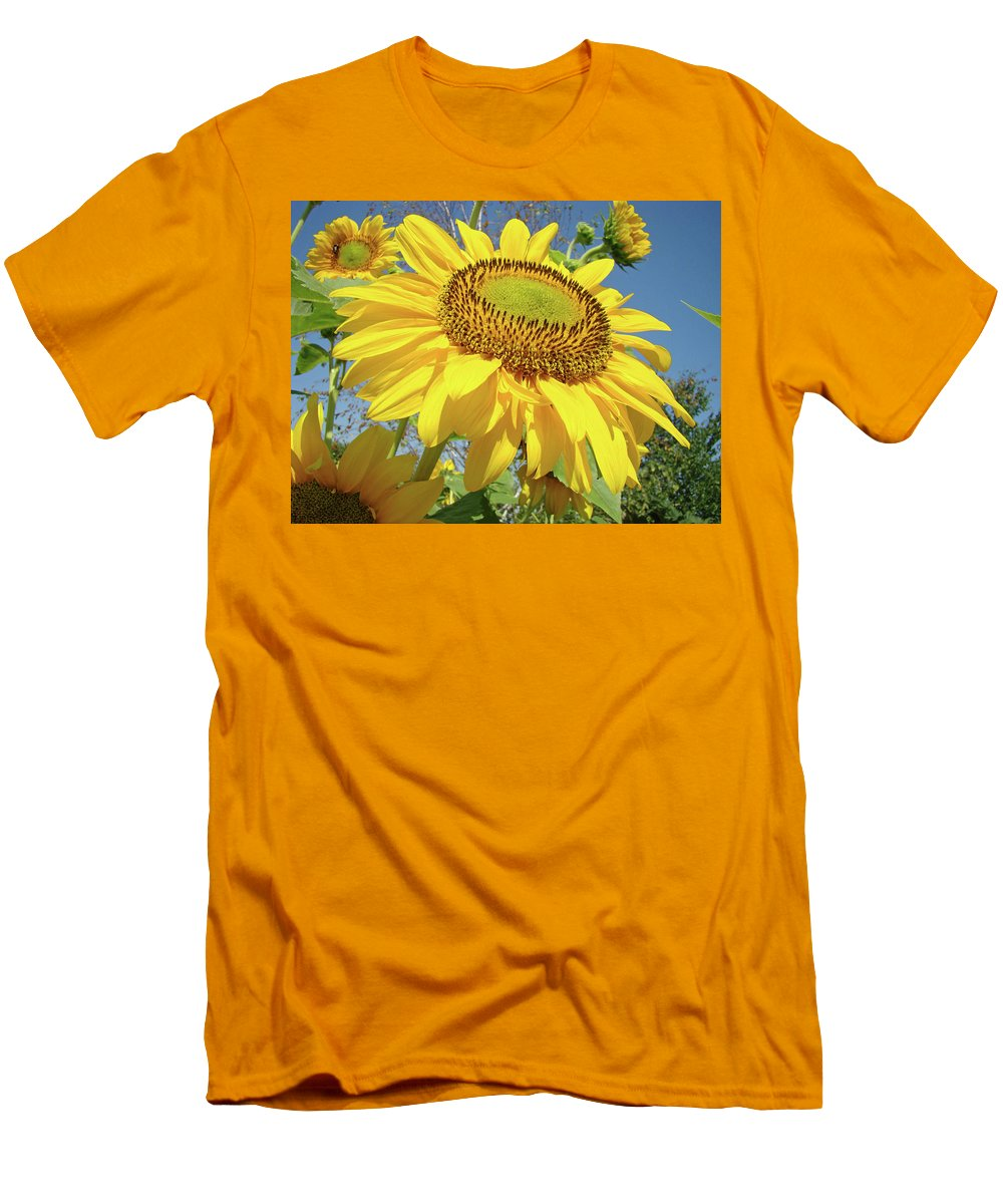 Sunflower Men's T-Shirt (Athletic Fit) featuring the photograph Bright Sunny Happy Yellow Sunflower 10 Sun Flowers Art Prints Baslee Troutman by Baslee Troutman