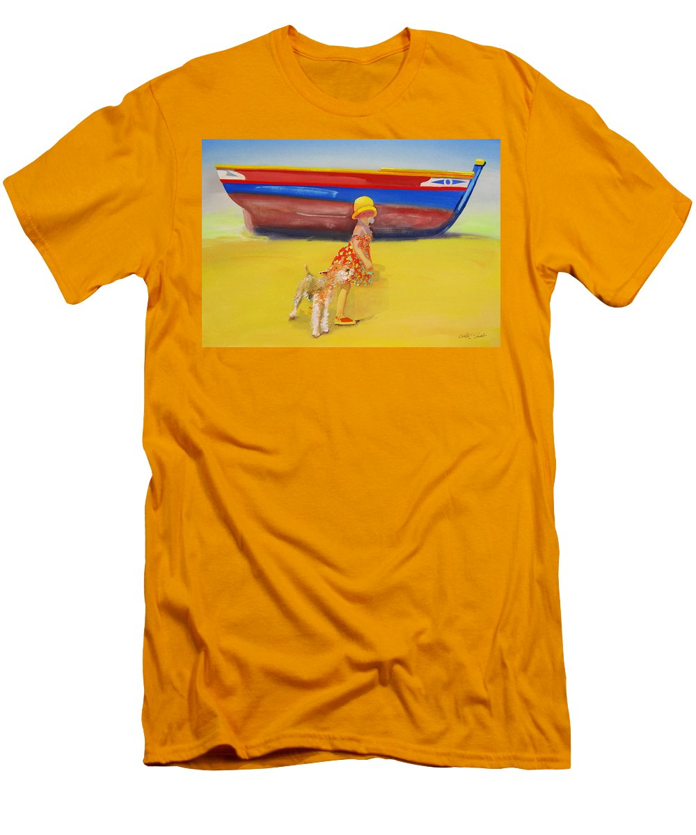 Wire Haired Fox Terrier Men's T-Shirt (Athletic Fit) featuring the painting Brightly Painted Wooden Boats With Terrier And Friend by Charles Stuart