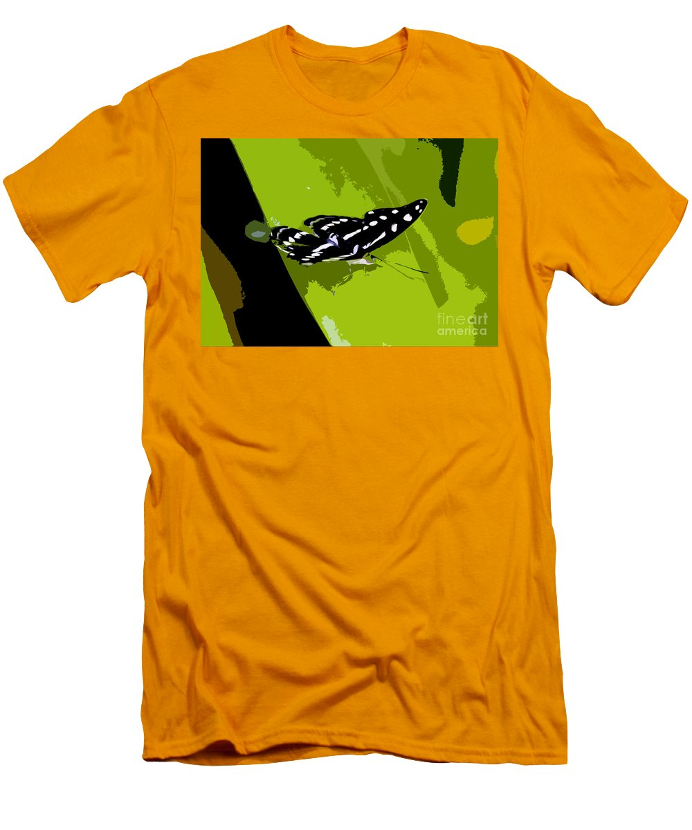 Butterfly Men's T-Shirt (Athletic Fit) featuring the photograph Butterfly On Green by David Lee Thompson
