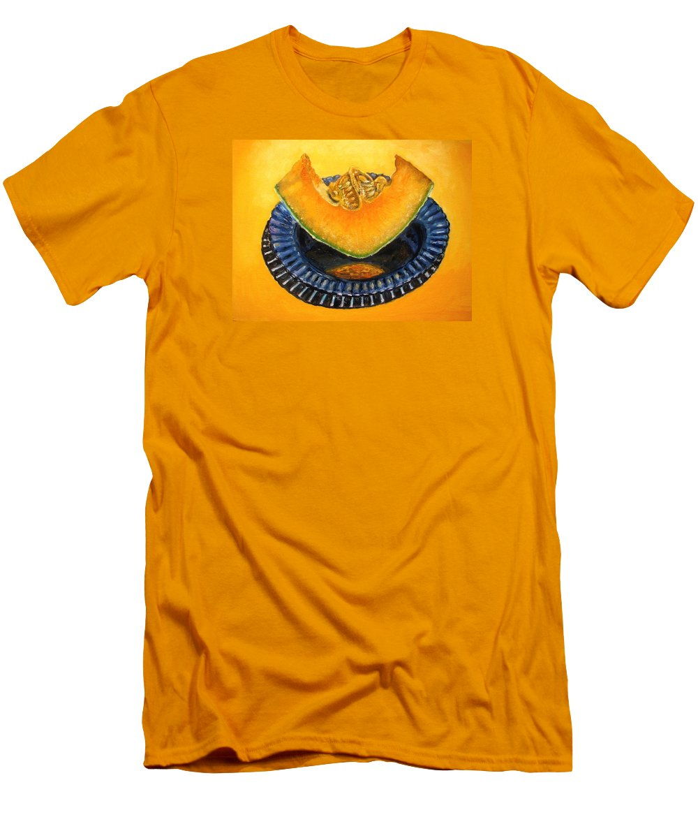 Cantaloupe Men's T-Shirt (Athletic Fit) featuring the painting Cantaloupe Oil Painting by Natalja Picugina