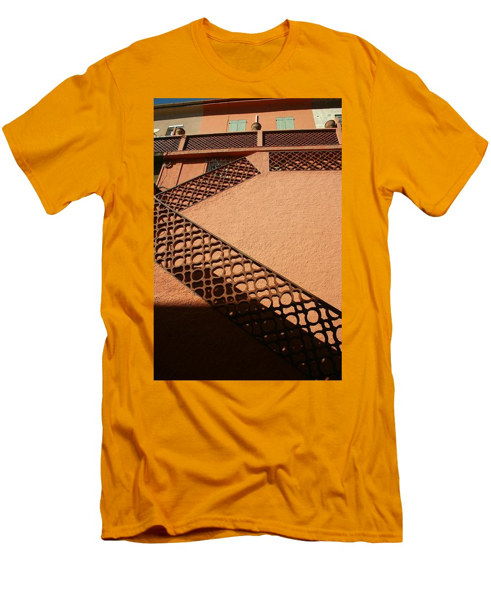 Stairs Men's T-Shirt (Athletic Fit) featuring the photograph Cerbre France Stairs by Minaz Jantz