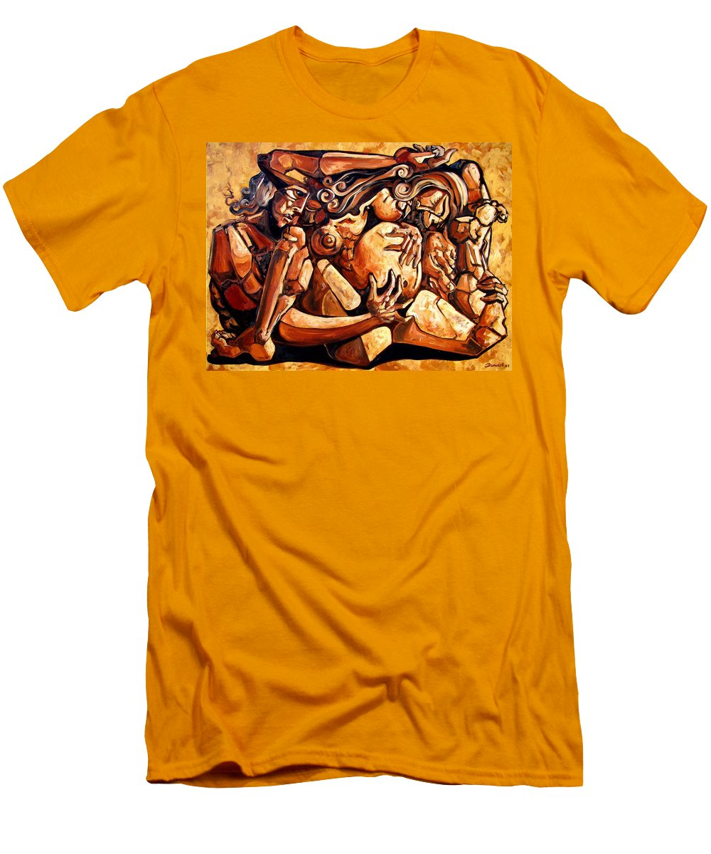 Surrealism Men's T-Shirt (Athletic Fit) featuring the painting Chaos After The News by Darwin Leon