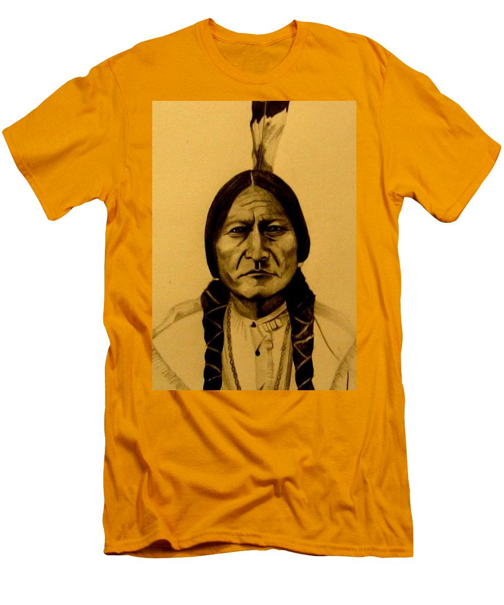 Portrait Men's T-Shirt (Athletic Fit) featuring the drawing Chief Sitting Bull Tatanka Iyotake by Michelle Dallocchio