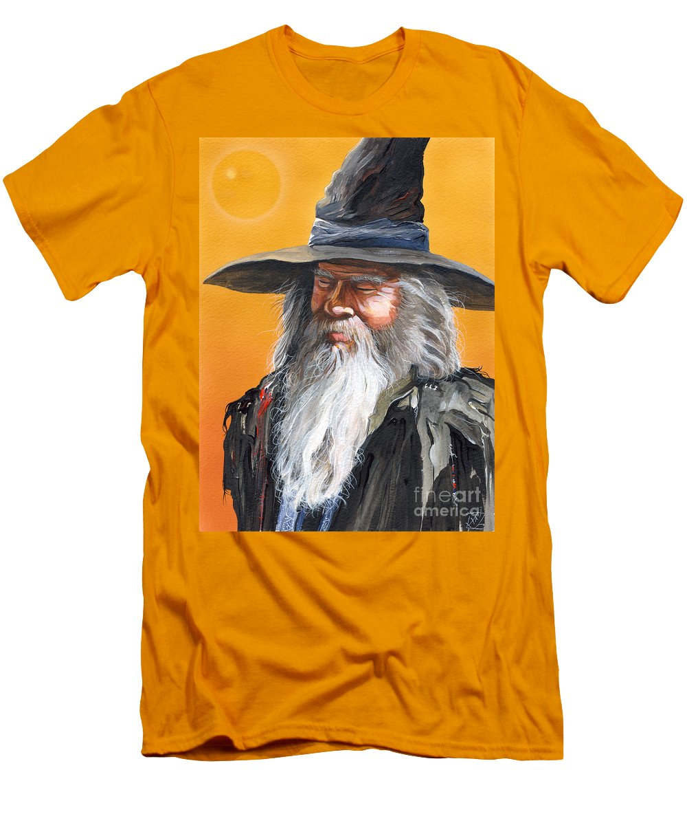 Fantasy Art Men's T-Shirt (Athletic Fit) featuring the painting Daydream Wizard by J W Baker