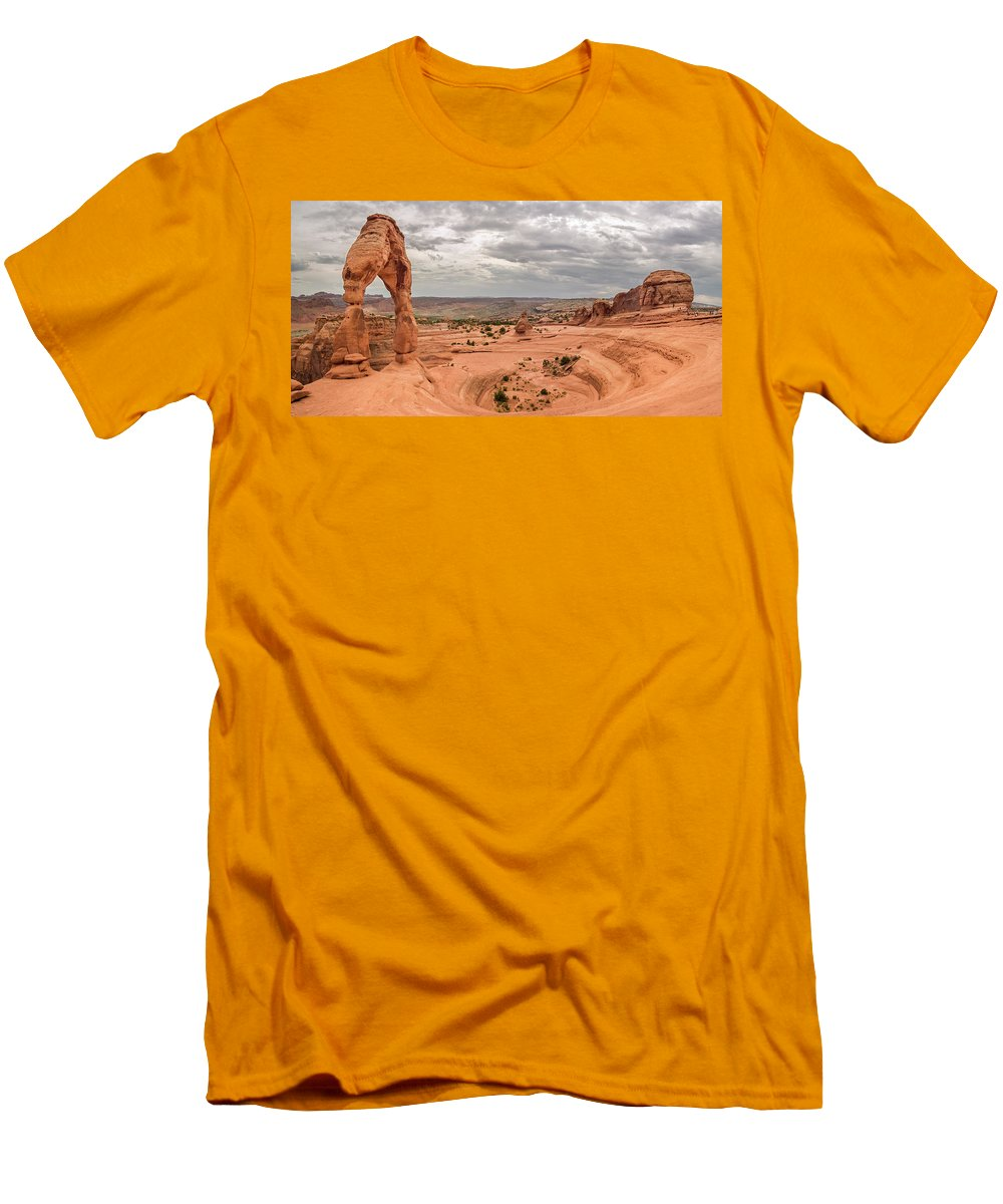 3scape Photos Men's T-Shirt (Athletic Fit) featuring the photograph Delicate Arch Panoramic by Adam Romanowicz