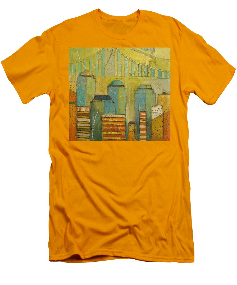 Men's T-Shirt (Athletic Fit) featuring the painting Downtown Manhattan by Habib Ayat