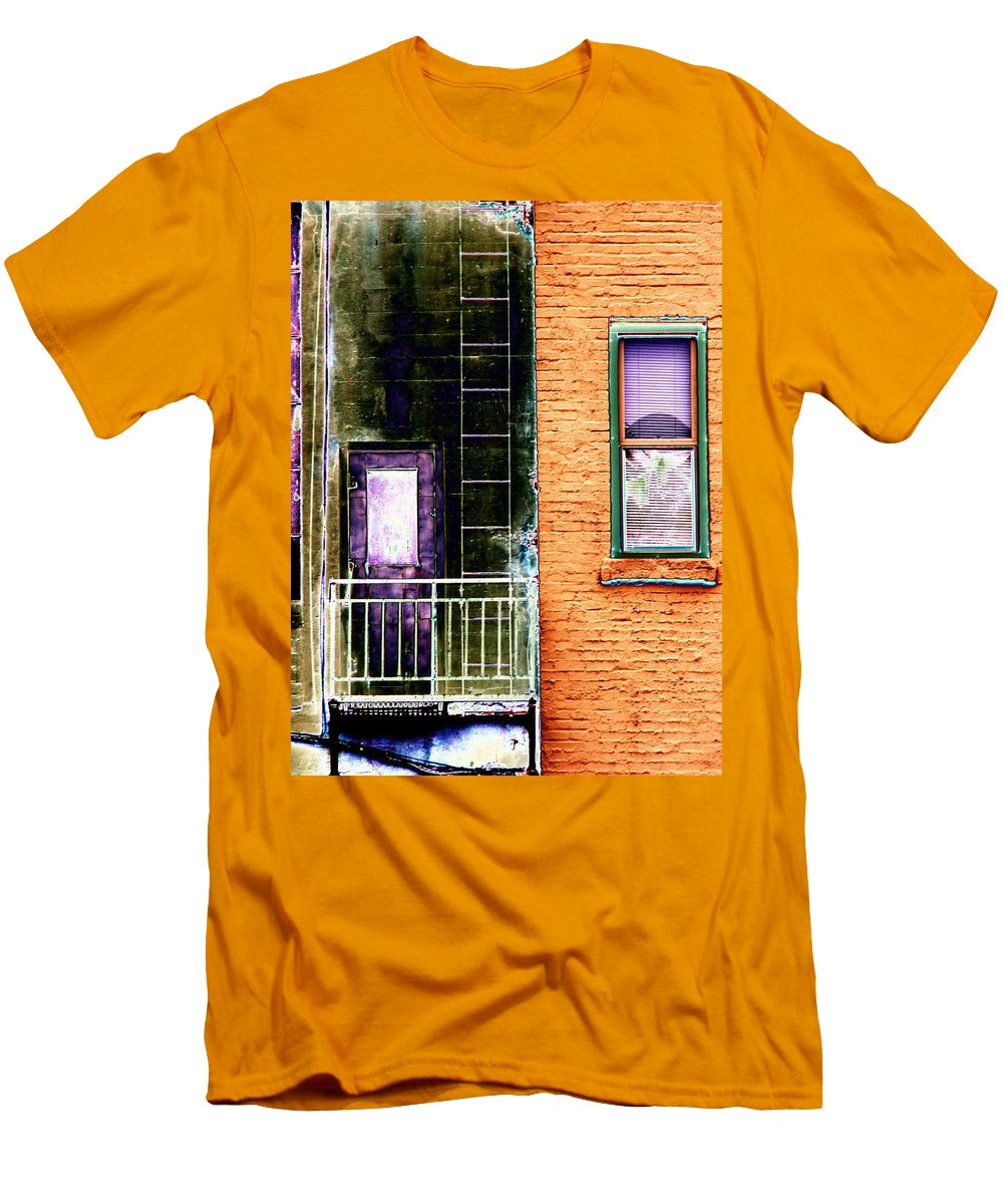 Fire Escape Men's T-Shirt (Athletic Fit) featuring the digital art Fire Escape by Tim Allen