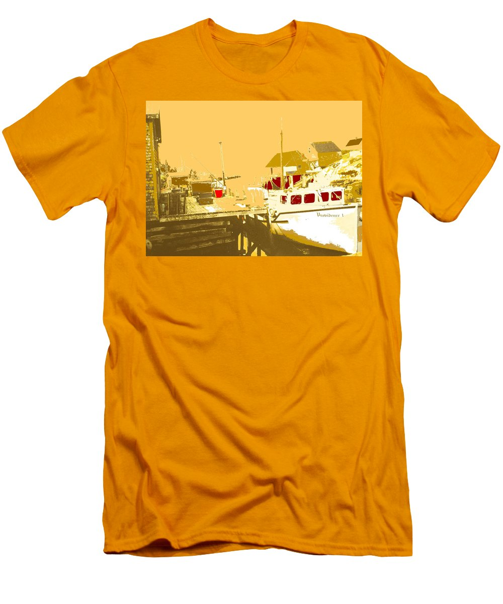 Red Men's T-Shirt (Athletic Fit) featuring the photograph Fishing Boat At The Dock by Ian MacDonald