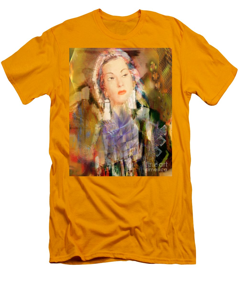 Men's T-Shirt (Athletic Fit) featuring the digital art Five Octaves - Tribute To Yma Sumac by John Beck