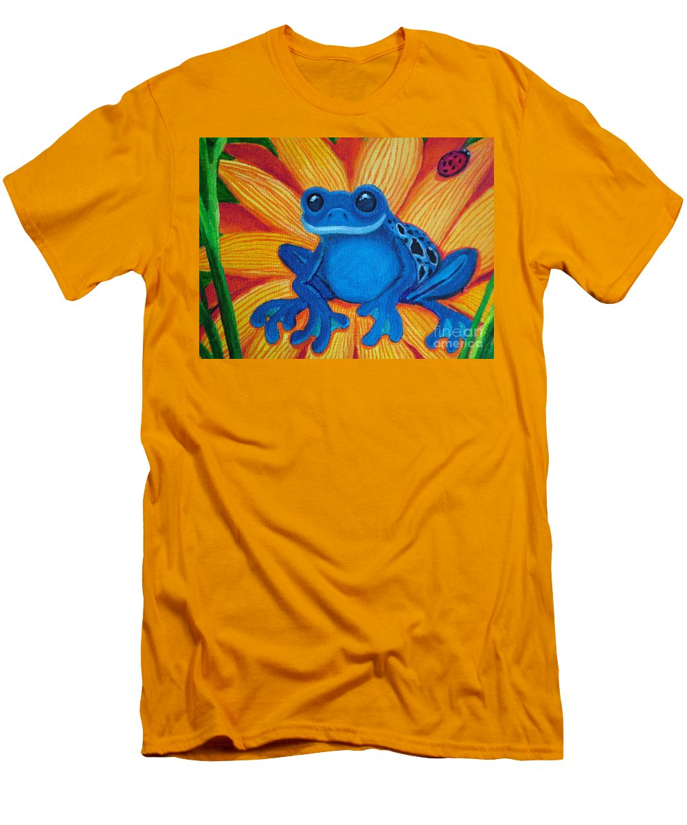 Frog And Flower Painting Men's T-Shirt (Athletic Fit) featuring the painting Frog And Lady Bug by Nick Gustafson