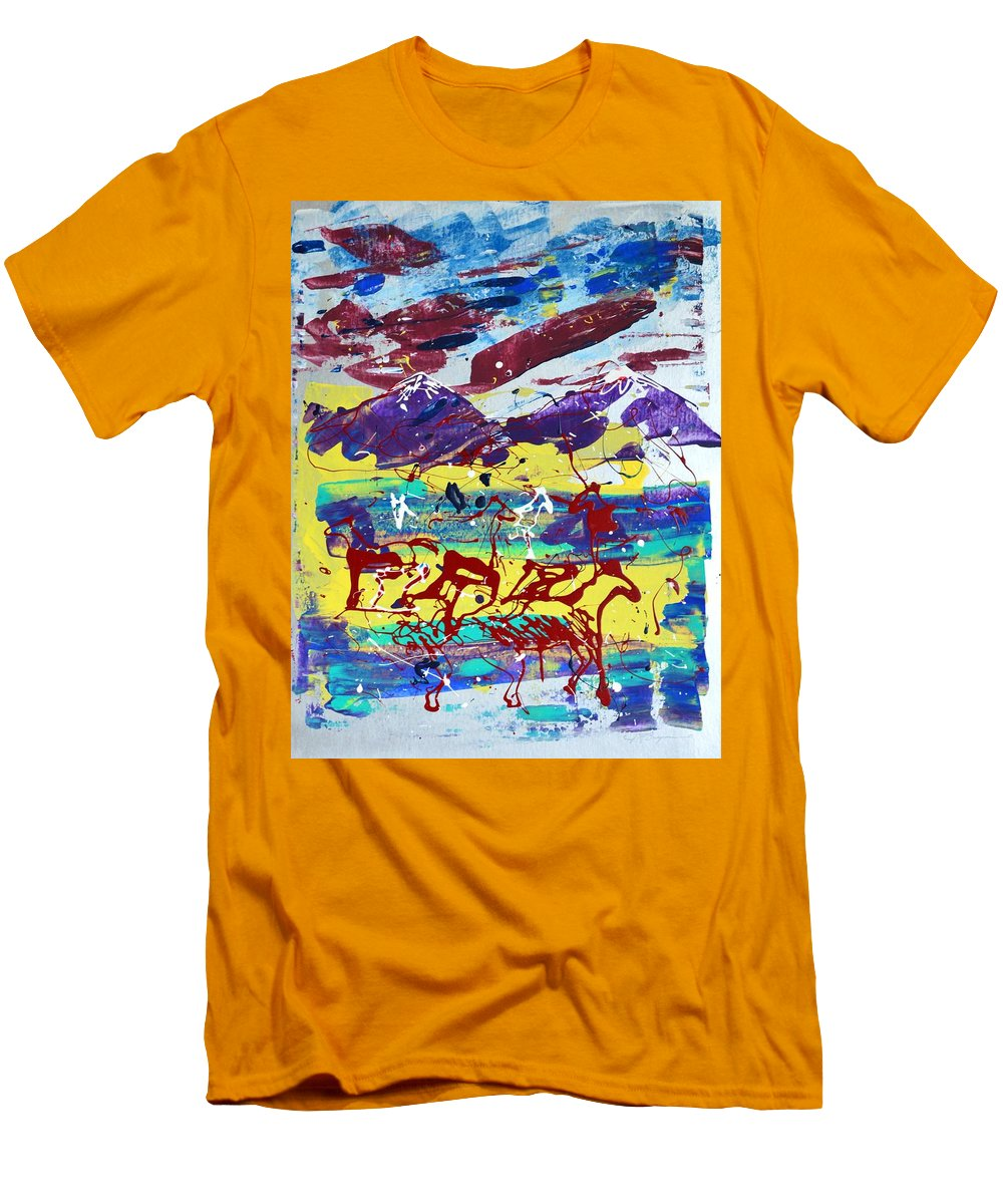 Horses Grazing Men's T-Shirt (Athletic Fit) featuring the painting Green Pastures And Purple Mountains by J R Seymour