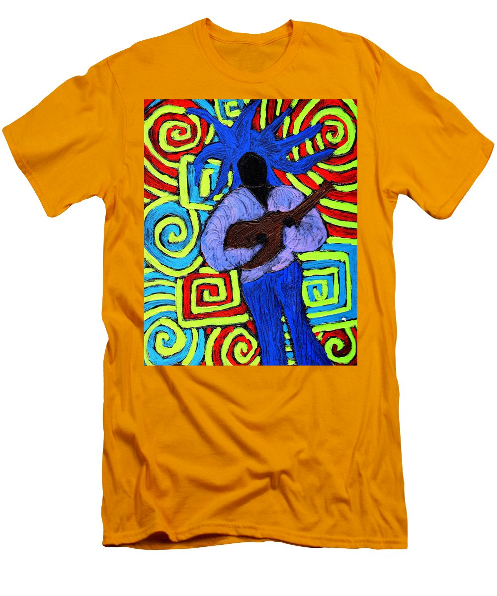 Music Men's T-Shirt (Athletic Fit) featuring the painting Guitar Solo by Wayne Potrafka