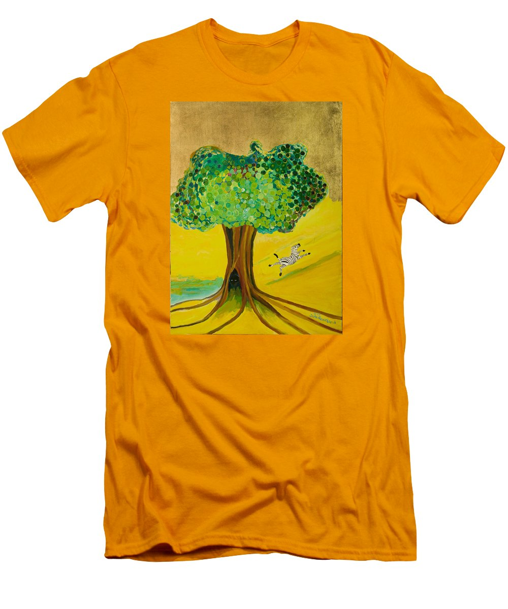 Landscape Men's T-Shirt (Athletic Fit) featuring the painting Happiness by Jarle Rosseland
