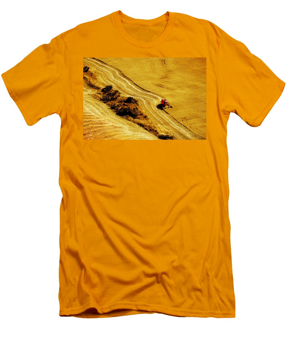 Combine Men's T-Shirt (Athletic Fit) featuring the photograph Harvesting The Crop by Mal Bray