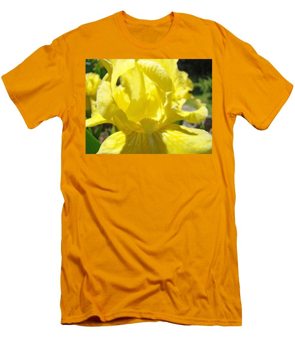 �irises Artwork� Men's T-Shirt (Athletic Fit) featuring the photograph Iris Flower Yellow Macro Close Up Irises 30 Sunlit Iris Art Print Baslee Troutman by Baslee Troutman