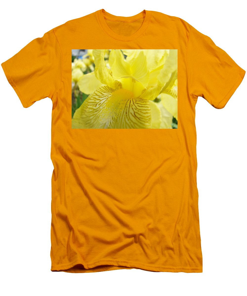 �irises Artwork� Men's T-Shirt (Athletic Fit) featuring the photograph Irises Yellow Brown Iris Flowers Irises Art Prints Baslee Troutman by Baslee Troutman