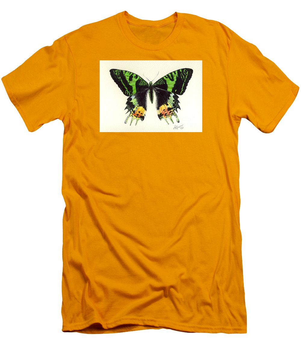 Butterfly Men's T-Shirt (Athletic Fit) featuring the painting Jamaican Jewel by Lynn Quinn