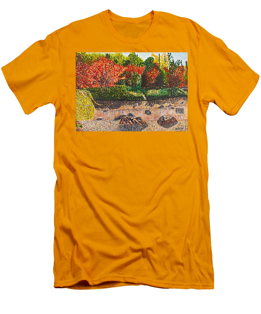 Landscape Men's T-Shirt (Athletic Fit) featuring the painting Japanese Maple Trees At The Creek by Valerie Ornstein