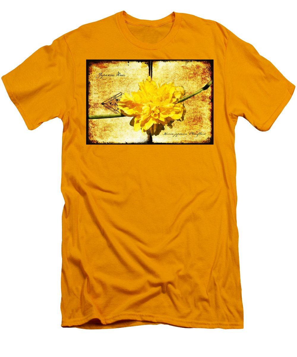 Kerria Men's T-Shirt (Athletic Fit) featuring the digital art Japanese Rose by Teresa Mucha