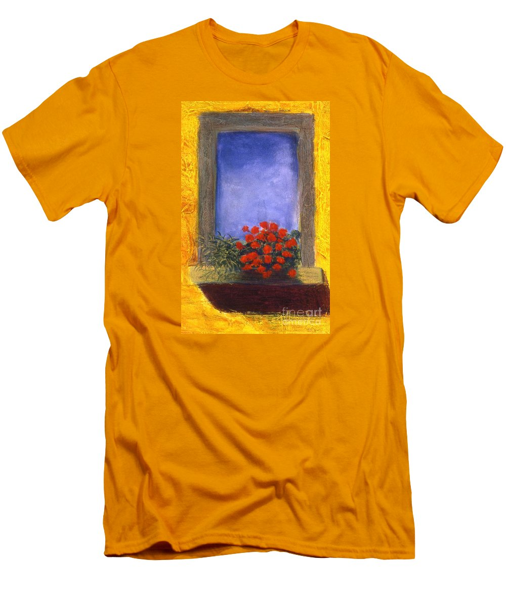 Colorful Men's T-Shirt (Athletic Fit) featuring the painting La Finstra Con I Fiori by Mary Erbert