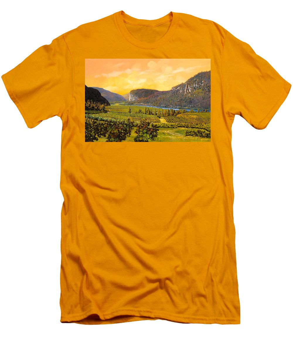 Wine Men's T-Shirt (Athletic Fit) featuring the painting La Vigna Sul Fiume by Guido Borelli
