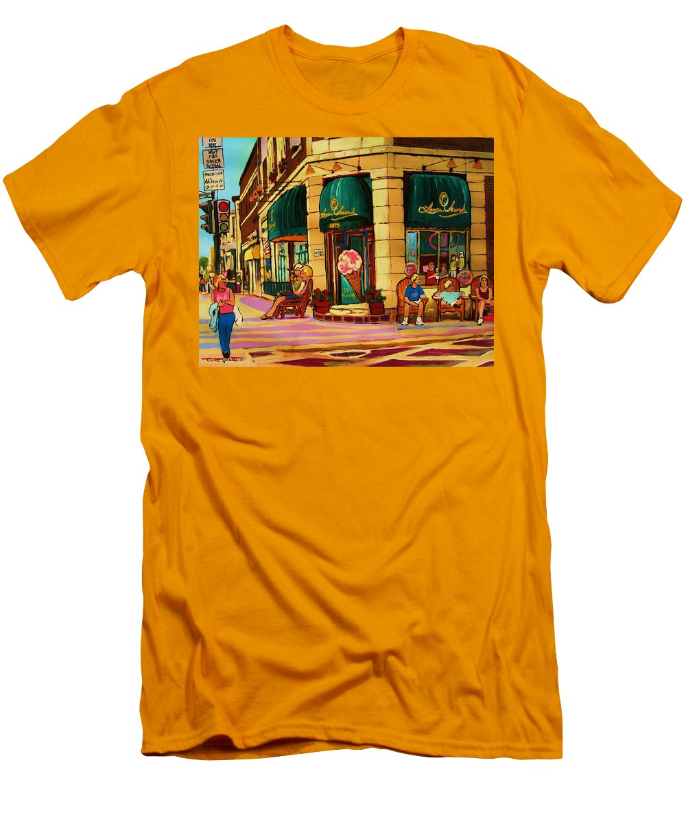 Montreal Streetscenes Men's T-Shirt (Athletic Fit) featuring the painting Laura Secord Candy And Cone Shop by Carole Spandau