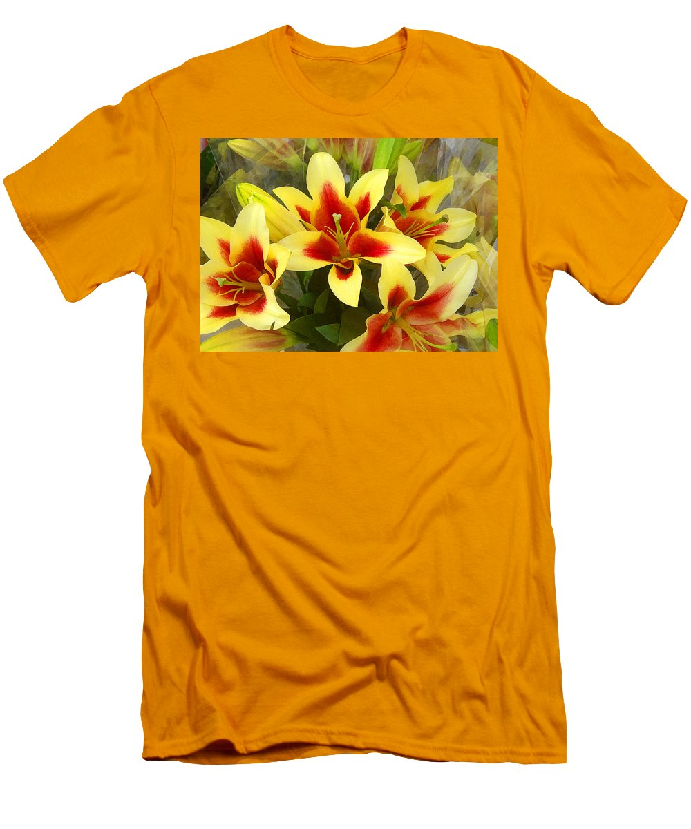 Spring Men's T-Shirt (Athletic Fit) featuring the painting Lilies by Amy Vangsgard
