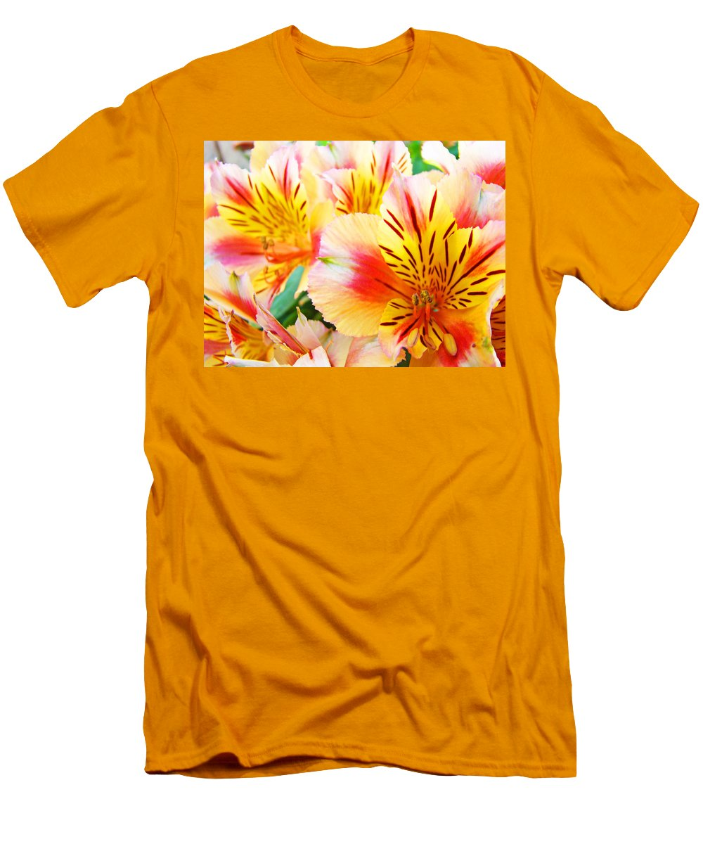 Lilies Men's T-Shirt (Athletic Fit) featuring the photograph Lilies Art Prints Pink Yellow Lily Flowers 1 Giclee Prints Baslee Troutman by Baslee Troutman