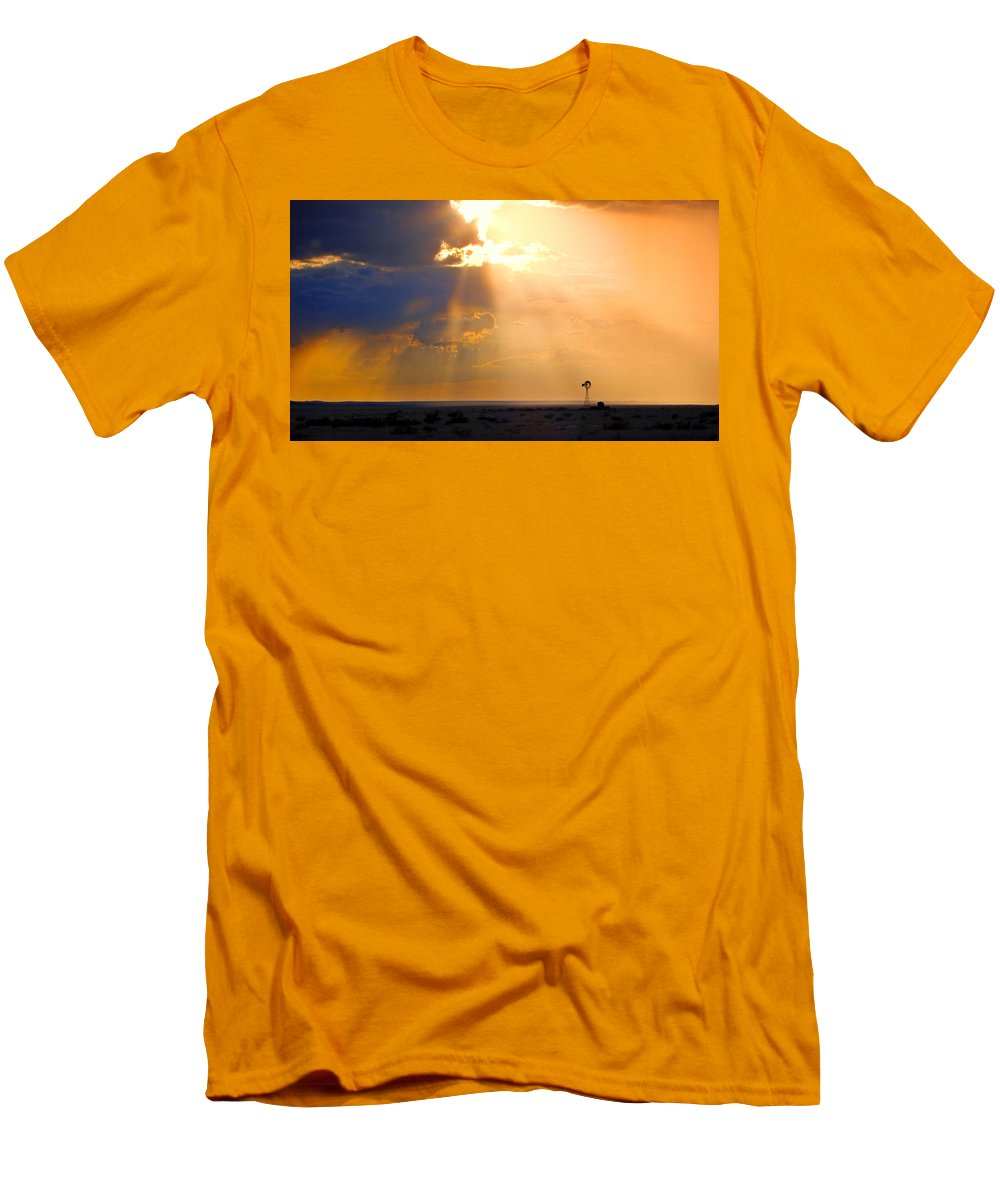 Skip Hunt Men's T-Shirt (Athletic Fit) featuring the photograph Marfa Windmill 1 by Skip Hunt