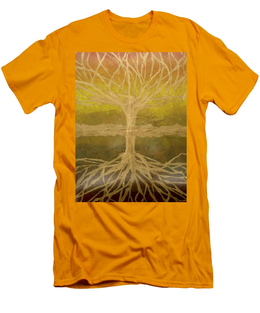 Abstract Men's T-Shirt (Slim Fit) featuring the painting Meditation by Leah Tomaino