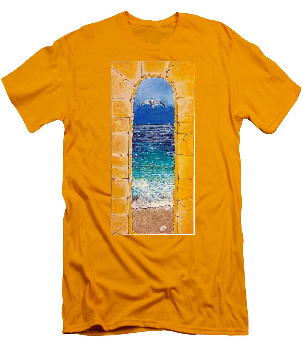 Beach Men's T-Shirt (Athletic Fit) featuring the painting Mediterranean Meditation by V Boge