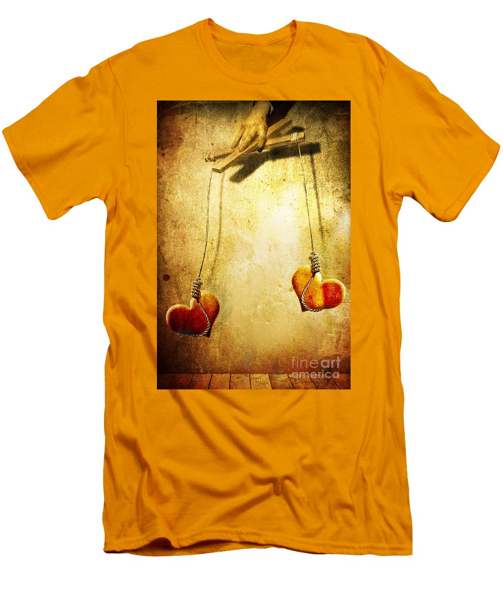 Puppeteer Men's T-Shirt (Athletic Fit) featuring the painting Not Meant To Be... by Jacky Gerritsen